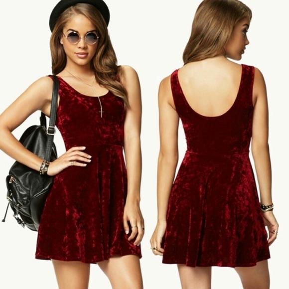 c58cae78aaac Forever 21 Dresses   Skirts - Red velvet skater dress
